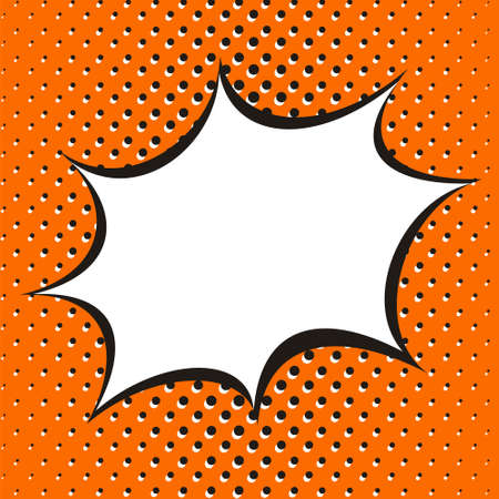 Bright orange background in popart styles. White box for text in the form of an explosion. Square web banner for social media post template. Vector illustration. 向量圖像