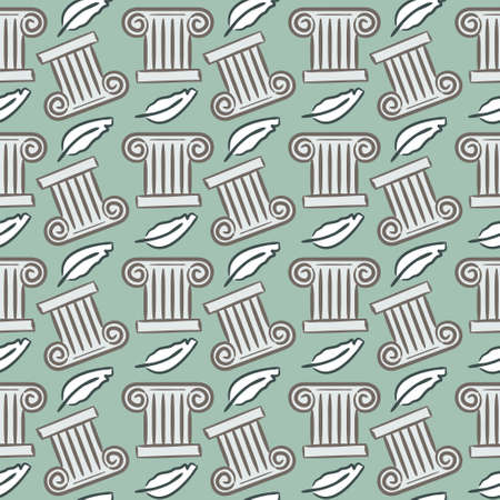Seamless pattern on a historical theme. Ancient Greek columns and writing feathers on a blue background. Vector illustration for historical, archaeological, educational and training projects.  イラスト・ベクター素材