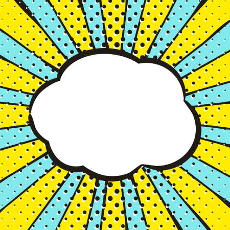 Bright background in popart style. White box for text in the shape of a cloud. Square web banner for social media post template. Vector illustration.