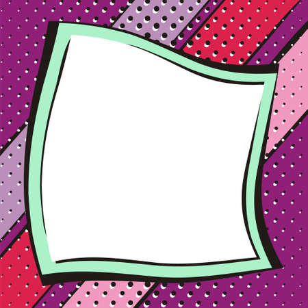 Bright purple background in popart style. White box for text in the form of a crumpled sheet of paper. Square web banner for social media post template. Vector illustration.