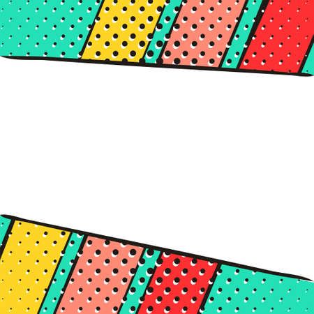 Bright background in popart style. White box for text. Summer colors: turquoise, red, yellow. Square web banner for social media post template. Vector illustration.