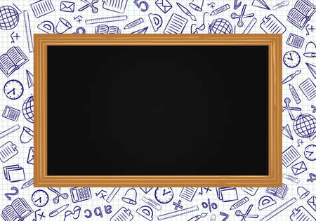 Template for school educational project. School board on a background of a notebook sheet in a box. School icons drawn by hand in doodle style. Vector Screensaver. Çizim