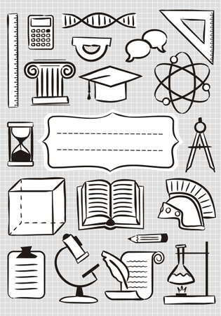 Cover for notebook. Checkered sheet with school icons. School and educational theme, template for the design of covers, posters, posters, presentations and banners. Vector illustration