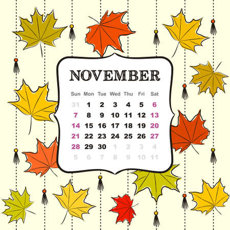 Thematic template for a calendar for 2021. The month of November. Design for the calendar on the theme of autumn, yellow and orange maple leaves. Vector hand-drawn illustration, doodle style. 일러스트