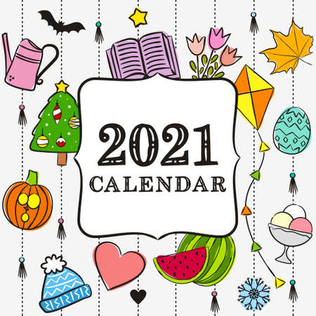 Thematic template for a calendar for 2021. Cover for the calendar with the seasons. Pattern for printing yearbooks and notebooks. Vector hand-drawn illustration, doodle style.