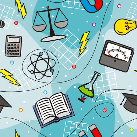 Seamless doodle pattern with school elements. Pattern with physics objects ammeter, molecules, flask, calculator, magnet, light bulb, lightning, discharge. Vector background.