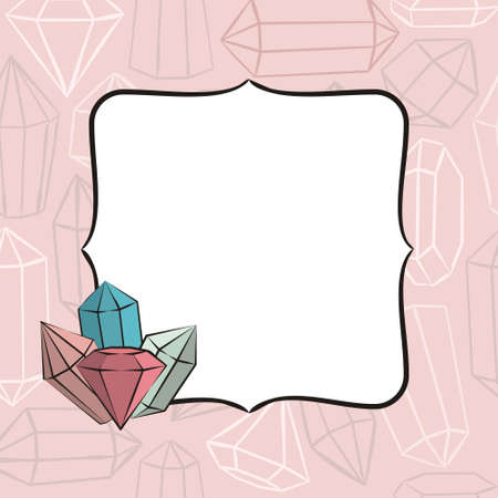 Frame with crystals. Hand-drawn gems, diamonds, emeralds and rubies. Vector illustration for jewelry store, bijouterie, geology, sale, magic and miracle.