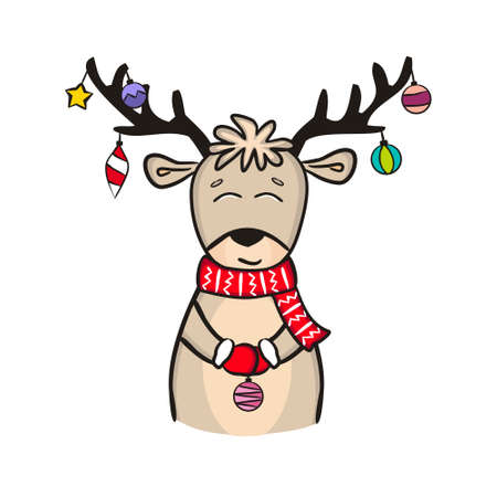 Hand-drawn christmas deer. Cute deer with New Year toys Isolated on a white background. Festive vector illustration for the design of New Year cards, posters and banners.