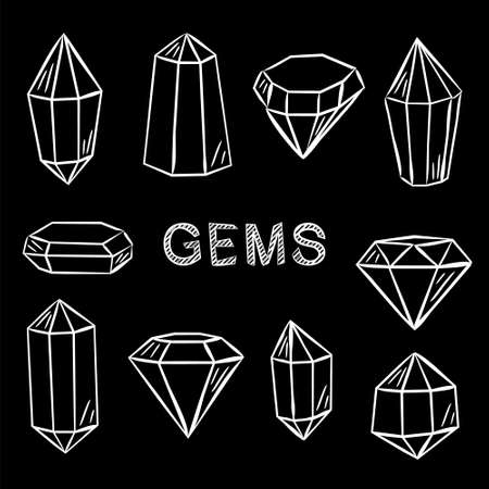Set of crystals in chalk style. Hand-drawn gems, diamonds, emeralds and rubies. White outline on a black chalkboard. Vector illustration for jewelry store, bijouterie, geology, sale, magic and miracle Иллюстрация