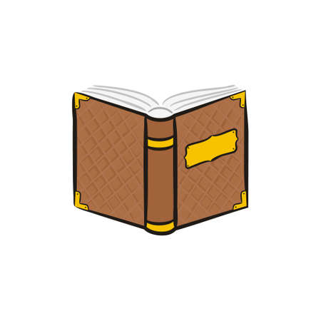 Opened book icon isolated on white background. A hand-drawn old shabby fairytale book with rivets. Ancient tome. Vector illustration. Ilustração