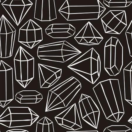 Black and white seamless vector pattern with crystals and stars. Hand-drawn gemstones, diamonds, diamonds, emeralds and rubies. Vector illustration for jewelry store, bijouterie, magic and miracle.