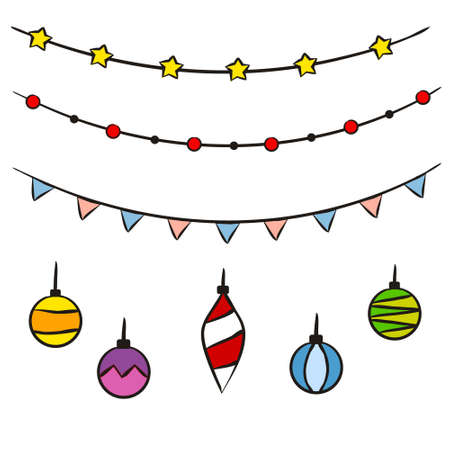 Hand-drawn christmas garland. Set of New Year decorations, toys and balls Isolated on a white background. Festive vector illustration for the design of New Year cards, sale posters and banners.