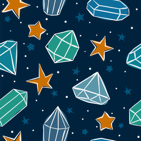 Seamless vector pattern with crystals and stars. Hand-drawn gemstones, diamonds, diamonds, emeralds and rubies. Vector illustration for jewelry store, bijouterie, magic and miracle. Иллюстрация