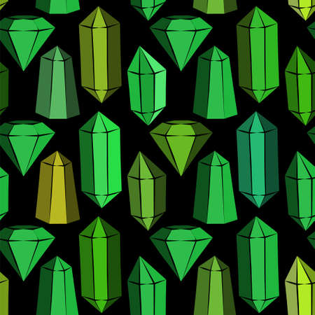 Seamless vector pattern with green crystals and emeralds. Hand-drawn gemstones, diamonds, diamonds, emeralds and rubies. Vector illustration for jewelry store, bijouterie, magic and miracle. Иллюстрация