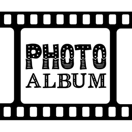 Photo album cover. Lettering title photo album. Black and white template for photographers with frames and film. Vector illustration for the design of books, posters, brochures, booklets, folders and