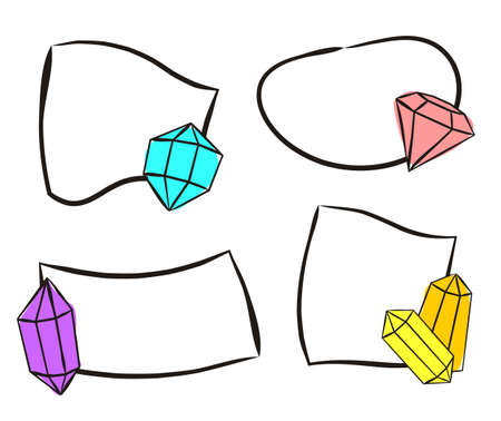 Hand-drawn stickers with crystals. Isolated Quick Tips badge. Sets of Hand-drawn gems, diamonds, emeralds and rubies. Vector illustration for jewelry store, bijouterie, geology, sale, magic and miracl