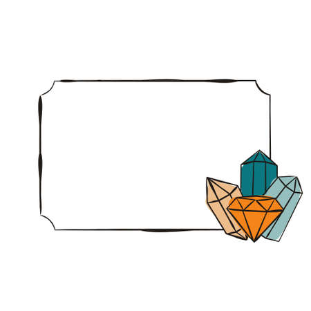 Simple Frame with crystals. Hand-drawn gems, diamonds, emeralds and rubies. Vector illustration for jewelry store, bijouterie, geology, sale, magic and miracle.