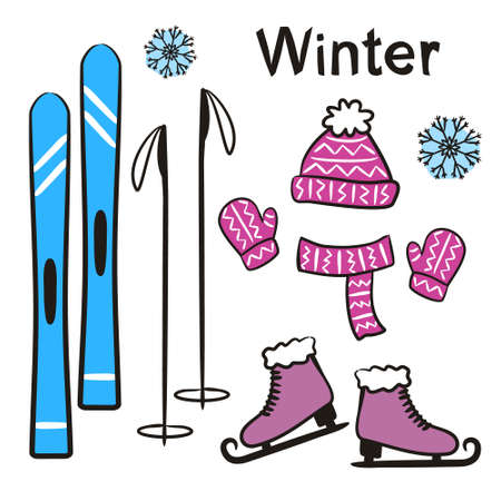 Time of year - Winter. Elements for seasonal calendar. Hand-drawn skis, skates, knitted hat, scarf and mittens. Vector illustration in doodle style for yearbooks and calendars.