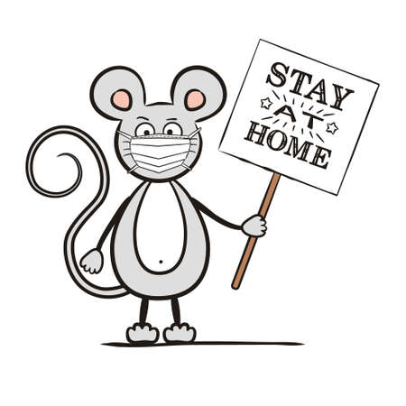Hand-drawn mouse in a protective mask with a sign Stay home. Isolated Vector illustration on the topic of quarantine, protection and self-isolation during an epidemic.
