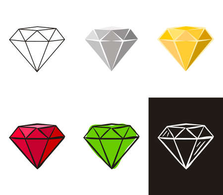A collection of crystals in different styles: doodle, contour, chalk. Sets of Hand-drawn gems, diamonds, emeralds and rubies. Vector illustration for jewelry store, bijouterie, sale, magic and miracle