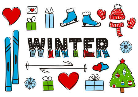 Winter Lettering. Elements for seasonal calendar. Hand-drawn skis, skates, knitted hat, scarf and mittens. Vector illustration in doodle style for yearbooks and calendars. Ilustrace