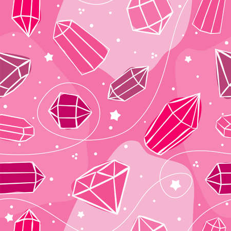 Pink seamless vector pattern with crystals and stars. Hand-drawn gemstones, diamonds, diamonds, emeralds and rubies. Vector illustration for jewelry store, bijouterie, magic and miracle. Иллюстрация