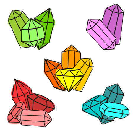Compositions of bright crystals. Sets of Hand-drawn gems, diamonds, emeralds and rubies. Vector illustration for jewelry store, bijouterie, geology, sale, magic and miracle. Иллюстрация