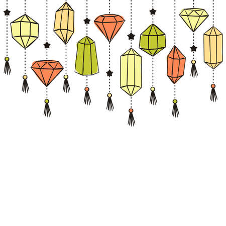 Pattern of crystals suspended on chains. Hand-drawn gemstones, diamonds, diamonds, emeralds and rubies. Vector illustration for jewelry store, bijouterie, magic and miracle.
