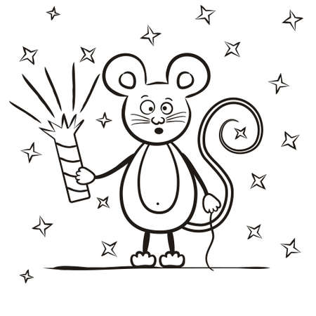 Children's contour coloring. A mouse with an exploding firecracker and fireworks against the background of stars. Vector illustration for children's decor, cards, posters and books.