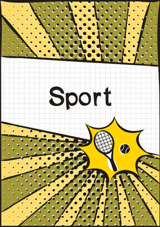 Cover for a school notebook or physical education textbook. School Pattern in bright pop art style. Hand-drawn icon of tennis racket and ball. Blank for training or sports poster.