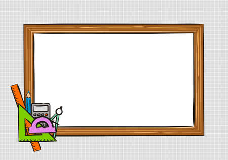 Template for school educational project or photo frame. White School board on a background of a notebook sheet in a box. School icons drawn by hand in doodle style. Vector Screensaver.