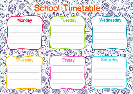Template of a school schedule for 6 days of the week for students. Vector illustration in colored doodle styles. Includes hand-drawn elements on a school theme. Иллюстрация