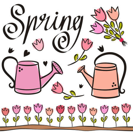 Set of spring elements with cute watering cans and tulips. Hand-drawn cute garden elements and the word Spring. Vector illustration on the theme of spring, gardening, planting and beds.