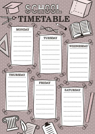 Vintage Template of a school schedule for 6 days of the week for students. Vector illustration in doodle styles. Includes hand-drawn elements on a school theme.