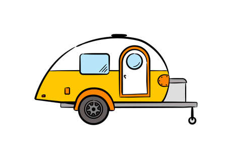 Hand-drawn retro caravan trailer. Camper isolated on white background. Vector illustration on the theme of travel, caravanning, camping, hiking and motorhomes. Vettoriali