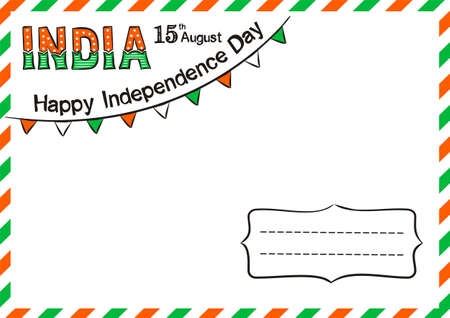 Happy Indian Independence Day postcard. Lettering for Independence Day of India. August 15th in national colors of India. Vector illustration for greeting card in doodle style. Vektorgrafik