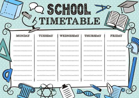 Vintage Template of a school schedule for 6 days of the week for students. Vector illustration in doodle styles. Includes hand-drawn elements on a school theme