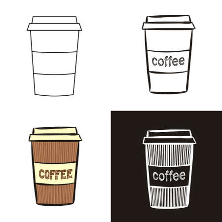 A collection of coffee cup in different styles doodle, contour, chalk. Sets of Hand-drawn cup of coffee. Vector illustration for cafe, restaurant, menu.