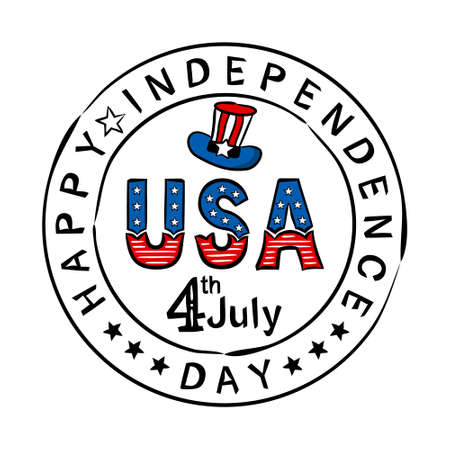 Hand-drawn stamp with Lettering for USA Independence Day. Logo by July 4th in national colors of the United States of America. Vector illustration for poster design in doodle style. Stock Illustratie
