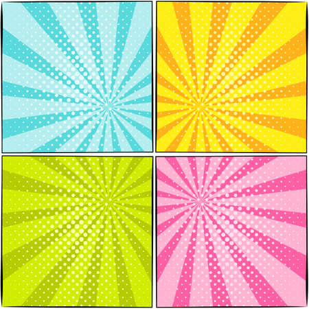 Set of bright patterns in the style of popart. Popular multicolored backgrounds with rays and dots. Retro vector illustration Çizim