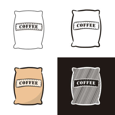 A collection of coffee bag in different styles doodle, contour, chalk. Sets of Hand-drawn coffee beans. Vector illustration for cafe, restaurant, menu. Ilustracja
