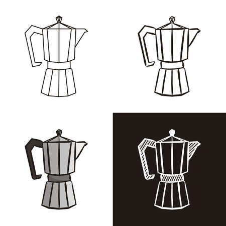 A collection of coffee maker in different styles doodle, contour, chalk. Sets of Hand-drawn moka pot icon. Vector illustration for cafe, restaurant, menu.