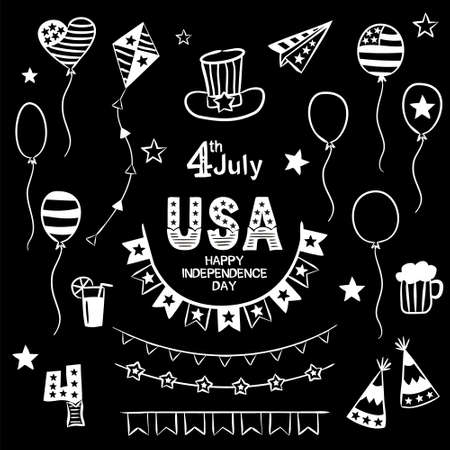 Set of chalk drawn elements for Independence Day of the United States of America. Symbols of the USA in national colors. A set of items for July 4th. Vector illustration for your design. Çizim