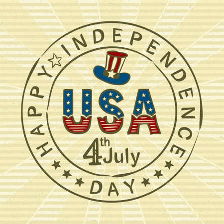 Hand-drawn vintage stamp with Lettering for USA Independence Day. Logo by July 4th in national colors of the United States of America. Vector illustration for poster design in retro style.