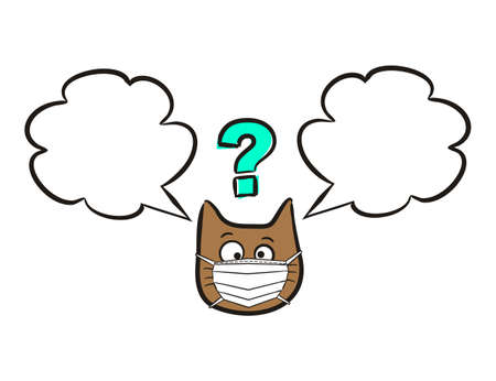 Cat emoji in a protective mask with speech bubble. Cartoon Labels and stickers with Funny hand drawn cats in quarantine. Vector text box for self-locking rules of conduct. Childish illustration