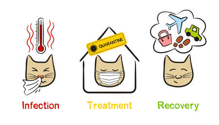 Hand-drawn cats and stages of a viral disease. Steps from infection, treatment to recovery. Vector children's illustration on the subject of symptoms, quarantine, medicine, safety and health.