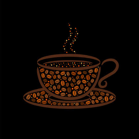 A cup lined with coffee beans. Hand-drawn grains and steaming cup of coffee. Dark brown logo. Vector illustration for menu, cafe, restaurant. Çizim