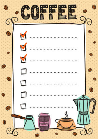 Hand-drawn template for a coffee menu. Vintage frame and lines of the list. Cup, Turk, coffee maker, beans and coffee to go. Vector illustration for cafes and restaurants.