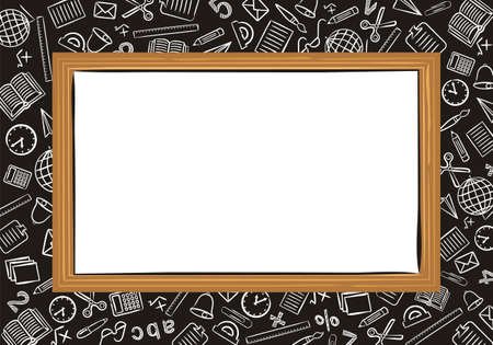 Template for school educational project or photo frame. School blackboard on a background of a notebook sheet in a box. School icons drawn by hand in doodle style. Vector Screensaver.