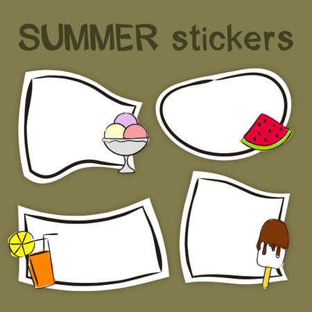 Set of hand drawn summer labels in cartoon style. Bright seasons stickers for youth products. Badges and tags for packaging. Vector illustration 일러스트
